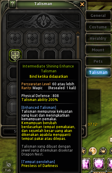 Dragon nest Indonesia talisman
