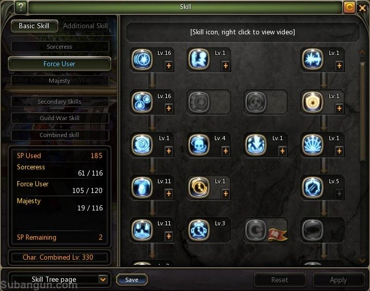 Dragon nest indonesia lv 70 force user skill build
